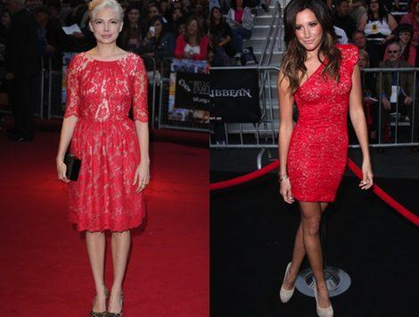 Michelle Williams y Ashley Tisdale con vestidos de encaje rojo