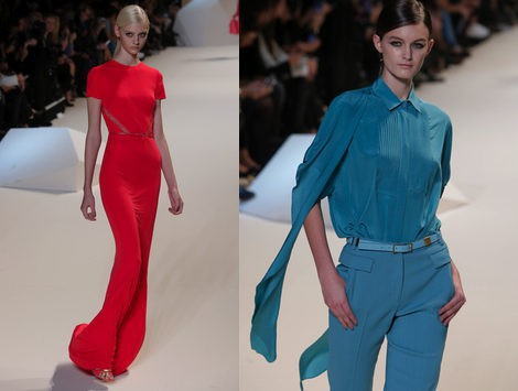 Elie Saab apuesta por el rojo frambuesa y el azul