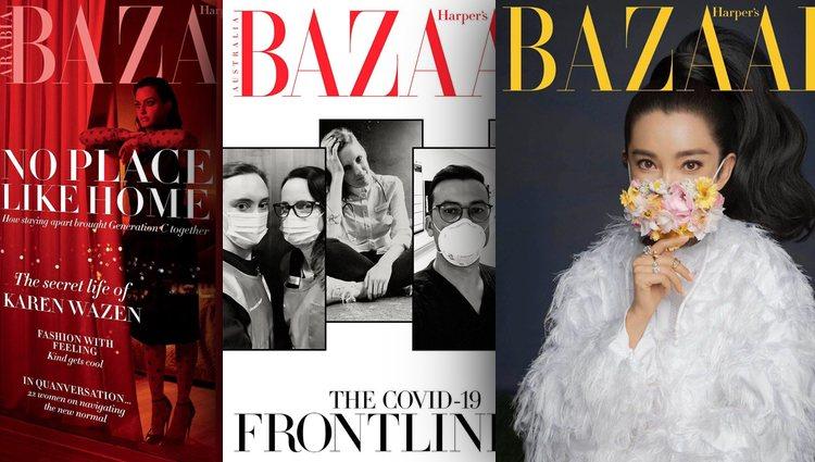 Tres ediciones distintas de Harper's Bazaar con portadas temáticas