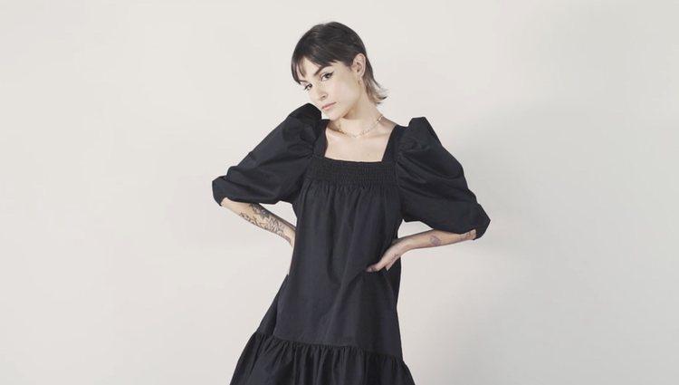Natalia Lacunza con el vestido negro