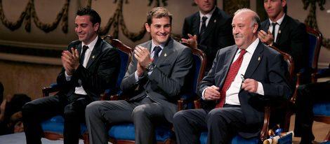 Vicente del Bosque, Iker Casillas y Xavi Hernández