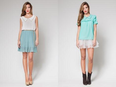 Dos modelos de falda y camisa de 'OUI by Poète'