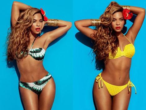 Beyoncé con dos modelos de bikini de la colección 2013 de H&M