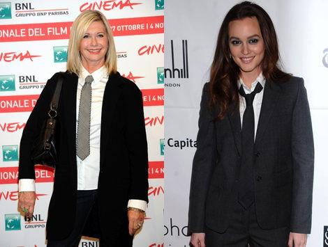 Looks masculinos de traje y corbata de Olivia Newton John y Leighton Meester