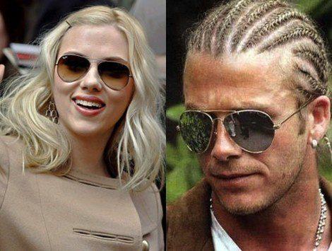 Scarlett Johansson y David Beckham con gafas de aviador