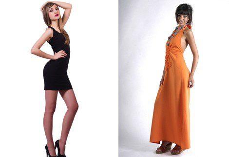 Vestido de minifalda (izq) y vestido con falda larga (derecha)