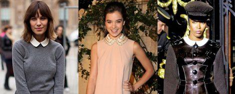 Alexa Chung, Hailee Steinfeld (Miu Miu) y Naomi Cambell (Louis Vuitton), con cuello Peter Pan