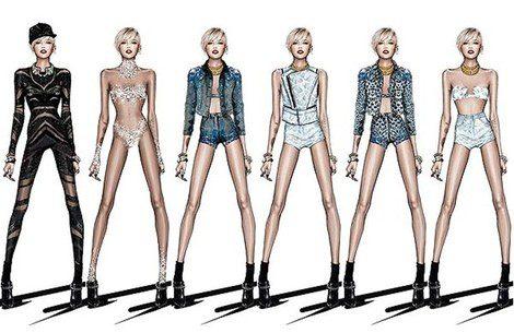 Bocetos de los looks de Roberto Cavalli para Miley Cyrus