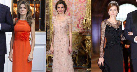 La Princesa Letizia con varios modelos de Felipe Varela