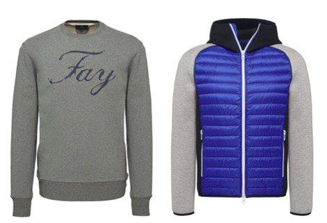 Sudadera con escritura, en color azul y chaqueta gris de la colección primavera/verano 2015 de Fay