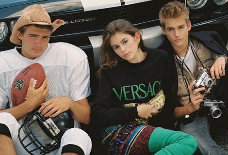 Garret Taber y los hijos de Cindy Crawford Kaia y Preysler Gerber en CR Fashion Book