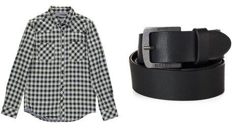 Camisa de cuadros y cinturón de la línea masculina de Salsa