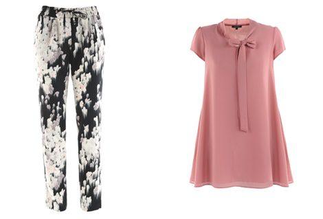 Pantalón con estampado jacquard y blusa rosa empolvada