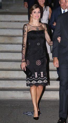 La Reina Letizia con el vestido de Felipe Varela