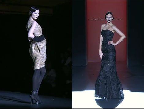 Encaje, volumen y transparencias en la 'alfombra roja' de Hannibal Laguna en la Fashion Week Madrid