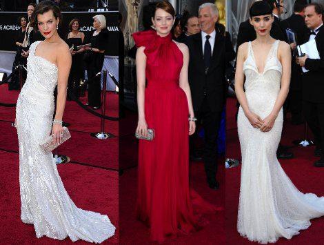 Milla Jovovich, Emma Stone y Rooney Mara destacan sobre la alfombra roja de los Oscar 2012