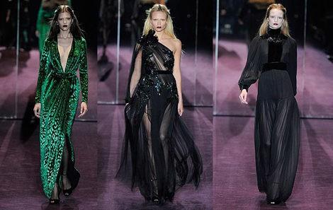 Terciopelo estampado, estilo gótico y transparencias en el desfile de Gucci