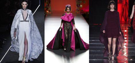 Las capas pueden incluirse en vestidos largos y cortos como los de Varela, Montesions y Juanjo Oliva
