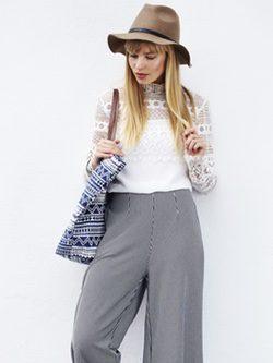Pantalones femeninos de talle alto