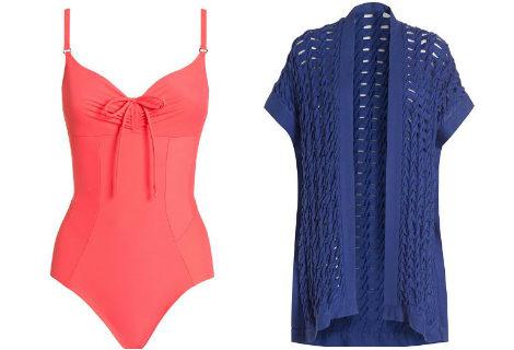 Bañador en color coral y caftán azul de la nueva colección de Yamamay: 'Scultp'