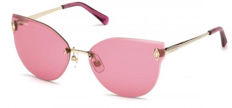 Gafas de sol con montura en color oro y lentes rosas