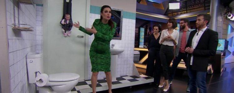 Pilar Rubio luciendo el vestido de Zara en 'El Hormiguero'