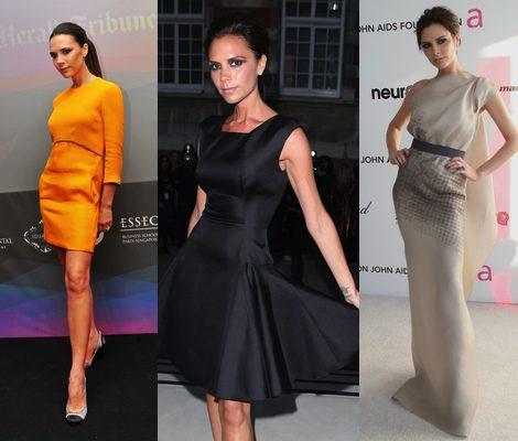 Victoria Beckham vistiendo diseños de su propia firma