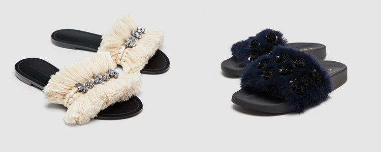 Las sandalias también se unieron a la moda 'ugly' con elementos como el pelo