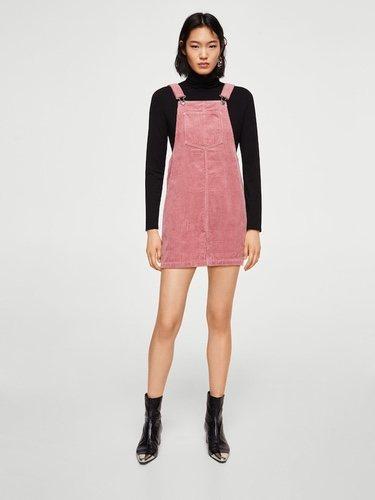 Peto falda de pana rosa pastel de Mango