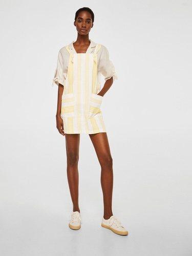 Peto falda en color blanco de estampado de rayas amarillas de Mango