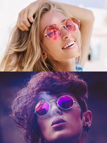 Las gafas con cristales de colores (arriba) o de estilo futurista (abajo) darán a tus looks un toque diferente