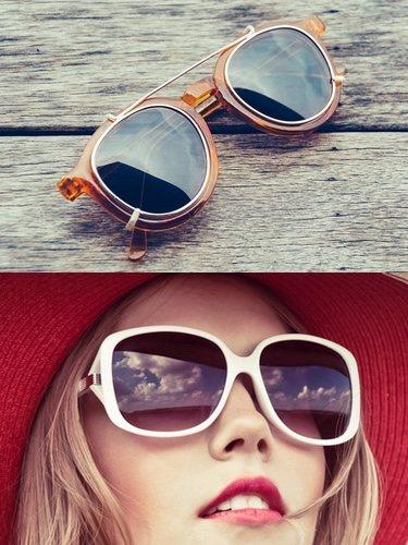 Los modelos con doble montura (arriba) y big size (abajo) son una forma ideal de crear un look de aires retro