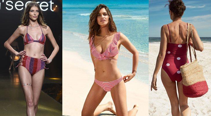 Algunos bikinis y bañadores de estampados de rayas y lunares