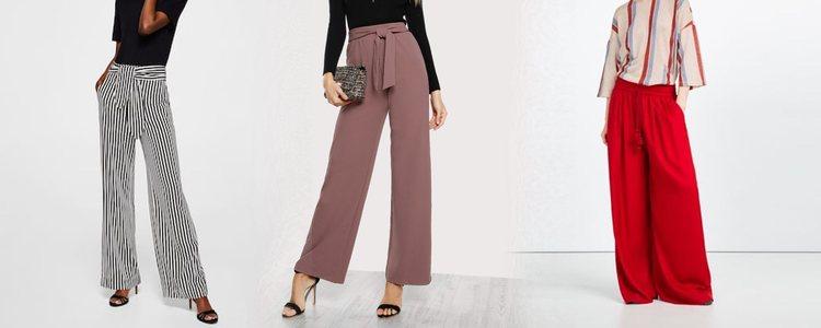 Los pantalones palazzo serán la única prenda con volumen del look / Fotos: ZARA y ASOS
