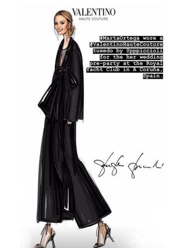Para la primera cena apostó todo por un traje negro / Foto: Maison Valentino
