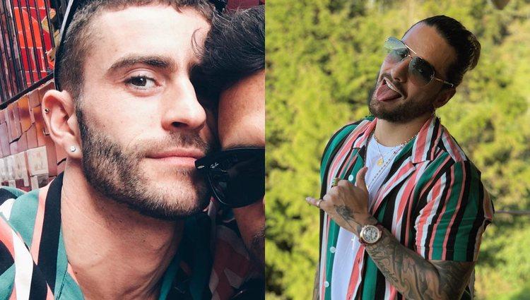 Pelayo con la camiseta en 2017 y Maluma en 2018 | Fotos: Instagram