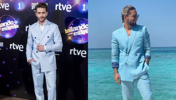 Pelayo en mayo de 2018 y Maluma en enero de 2019 | Fotos: Instagram