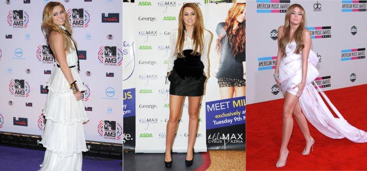Varios looks elegantes de la cantante Miley Cyrus en 2010