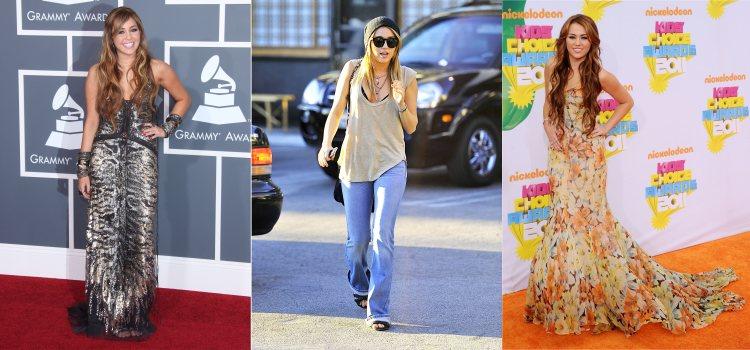 Varios looks de la cantante Miley Cyrus en 2012