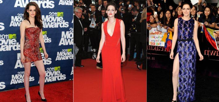 Varios looks de la actriz Kristen Stewart en 2011 y 2012