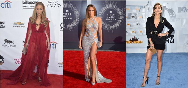 Varios looks de la cantante Jennifer Lopez en 2014 y 2015