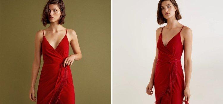 Vestido rojo cruzado de la Gala Collection de Mango