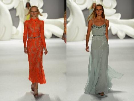 Vestido de corte camisero naranja energy y diseño azul empolvado