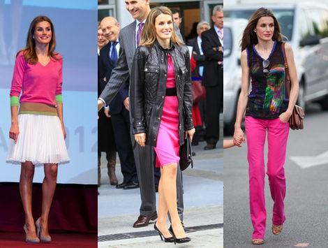 la princesa letizia apuesta por el color fucsia