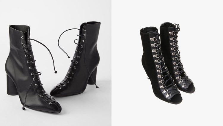 Botines de cordones Zara (derecha) y sandalias witch Balmain (izquierda)