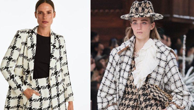 Traje chaqueta tweed Uterqüe (izquierda) y conjunto de pata de gallo Chanel (derecha)