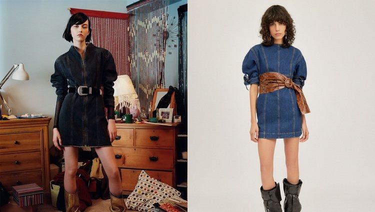 Vestido denim Pull and Bear (izquierda) y vestido denim Attico (derecha)