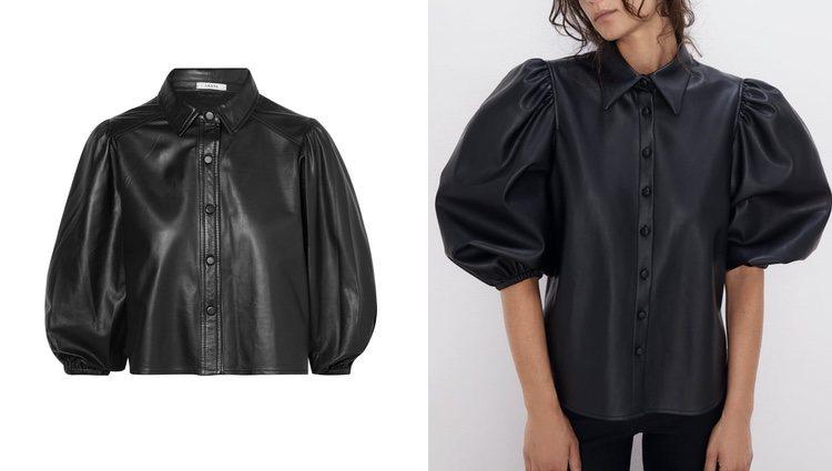 Camiseta de cuero Ganni (izquierda) y camisa de piel negra Zara (derecha)