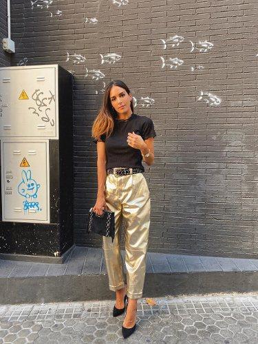 Rocío Osorno con un pantalón Slouchy metalizado | Foto: Instagram