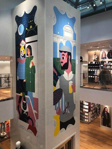 Mural de Gonzalo Muiño en la tienda Uniqlo de Serrano